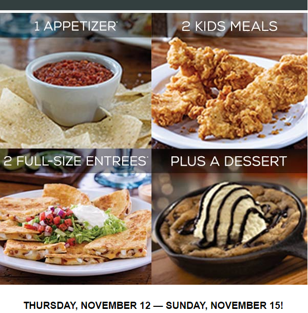 Chilis $30 Family Feast (ends today)
