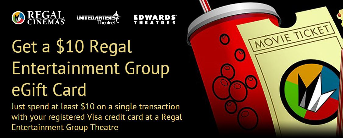 Regal Entertainment purchase $10 get $10 egift card