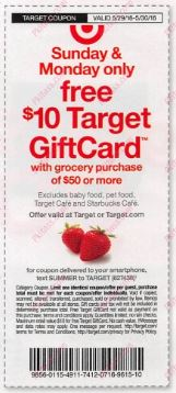 Target Ad Coupon $10 off $50
