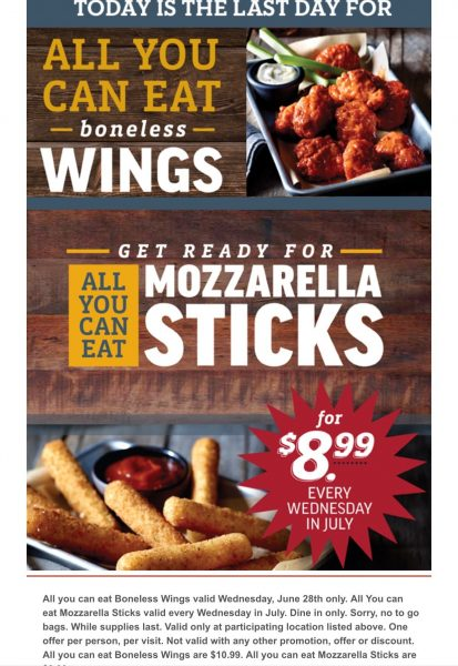 Applebees - All you can eat boneless wings $10.99 (today ...