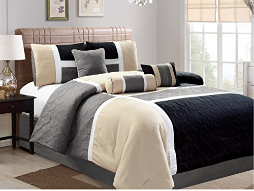Luxlen 7 Piece Luxury Bed in Bag Closeout Comforter Set, Cal King, Black/Beige