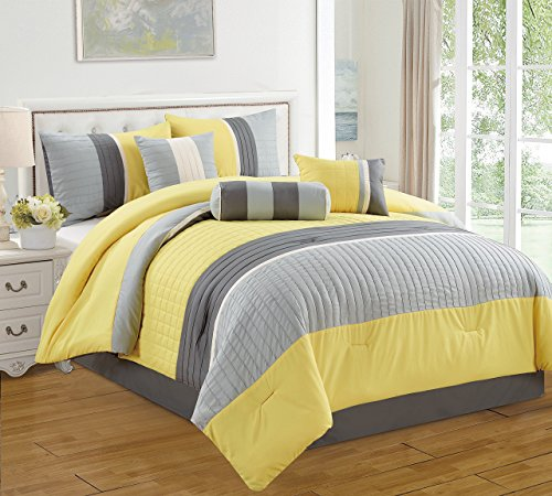 Dovedote, Isabella Comforter Set, Yellow Grey, California King, 7 Pieces