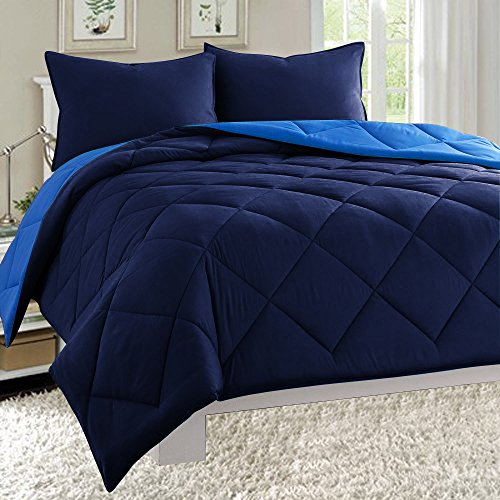 Empire Home Dayton Down Alternative 3 Piece Reversible Comforter Set (King Size, Navy & Blue)