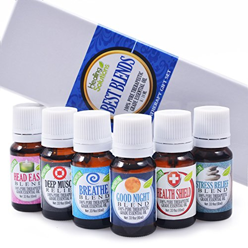 Best Blends Set of 6 100% Pure, Best Therapeutic Grade Essential Oil – 6/10mL (Breathe, Good Night, Head Ease, Muscle Relief, Stress Relief, and Health Shield)