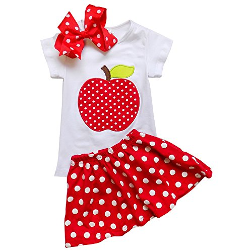 So Sydney Toddler & Girls Polka Dot Apple Back to School Skirt, Dress Collection (XL (6), Apple Top & Skirt)