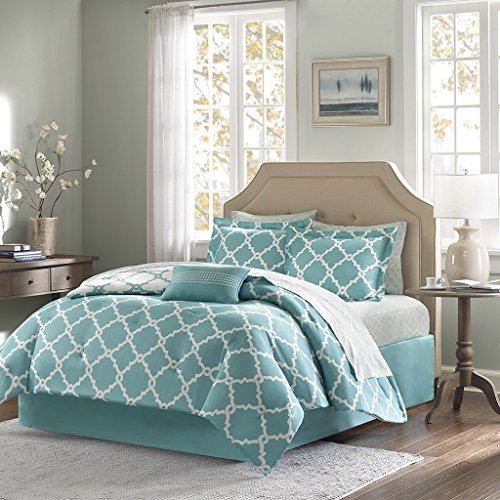 Geometirc Modern 7-Piece Reversible Comforter Set Soft Bedding Oversized Bed in a Bag SALE!!! (Full, Turquoise)