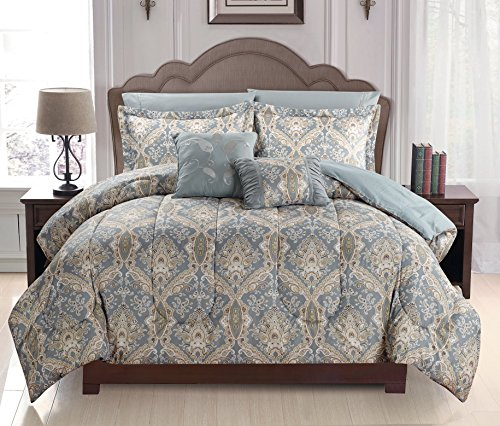 Homelux 7 Piece Luxurious Soft As Egyptian Cotton Reversible Comforter Set, Queen, Russian Light Gray