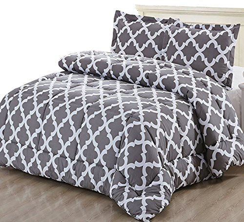 Printed Comforter Set (Grey, Queen) w/ 2 Pillow Shams $42.99 (Retail $99.99)