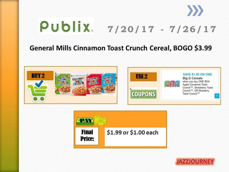 Publix: (starts today) Cinnamon Toast Crunch – as low as $1.00 each
