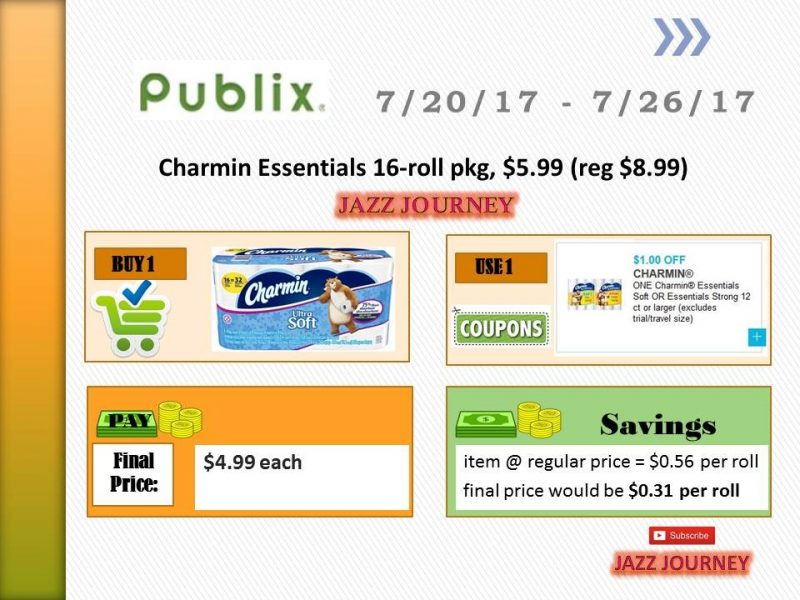 Publix: (ends today) Charmin 16 roll – as low as $4.99 ($0.31 p/roll)