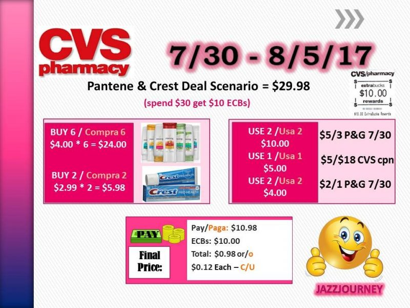CVS: Pantene & Crest as low as $0.12 each (starting 7/30/17)