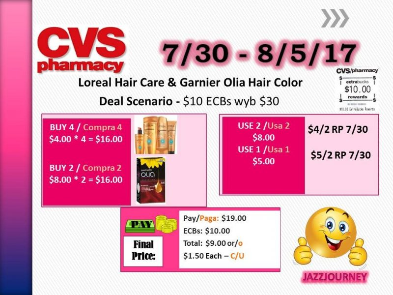 CVS: Loreal & Garnier Olia Hair Care (starting 7/30/17)