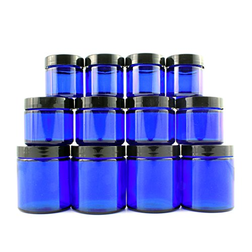 Combination (12 Pack) of Cobalt Blue 1oz, 2oz and 4oz Glass Straight S…
