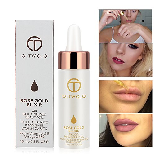 O.TWO.O 24k Rose Gold Elixir Skin Make Up Oil Infused Beauty Oil Essential Oil Before Primer Foundation Moisturizing Face Oil