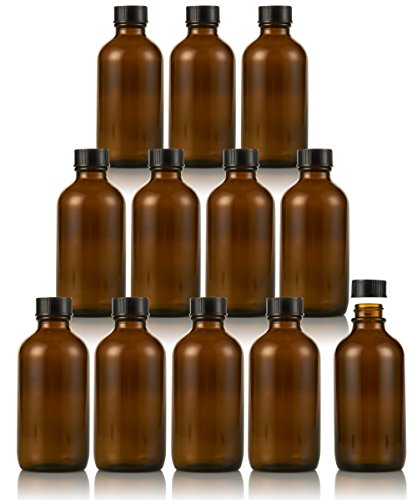 Amber Glass Empty Bottles with Caps – fo…
