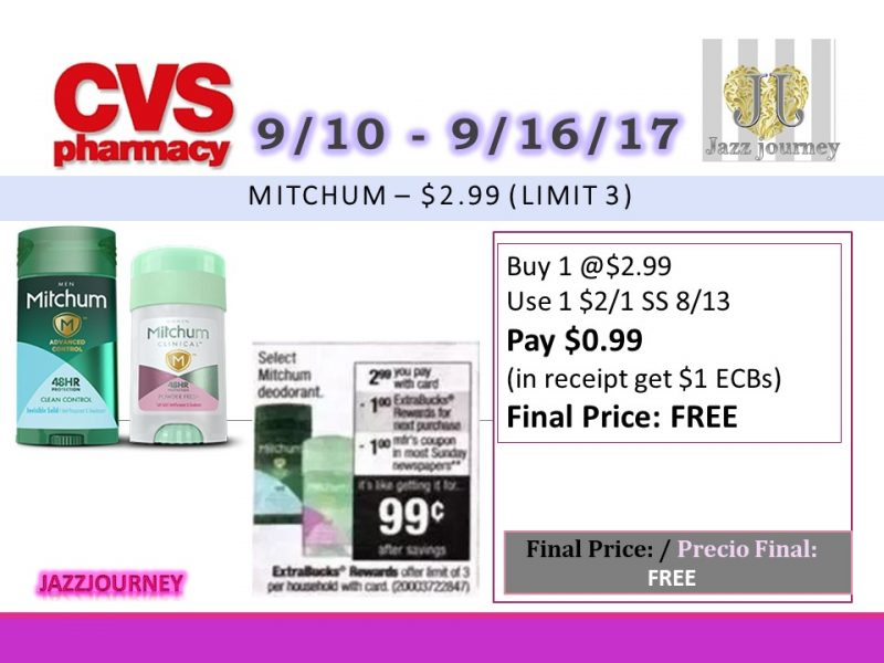 CVS: Mitchum Deodorant (as low as FREE) Starting 9/10/17