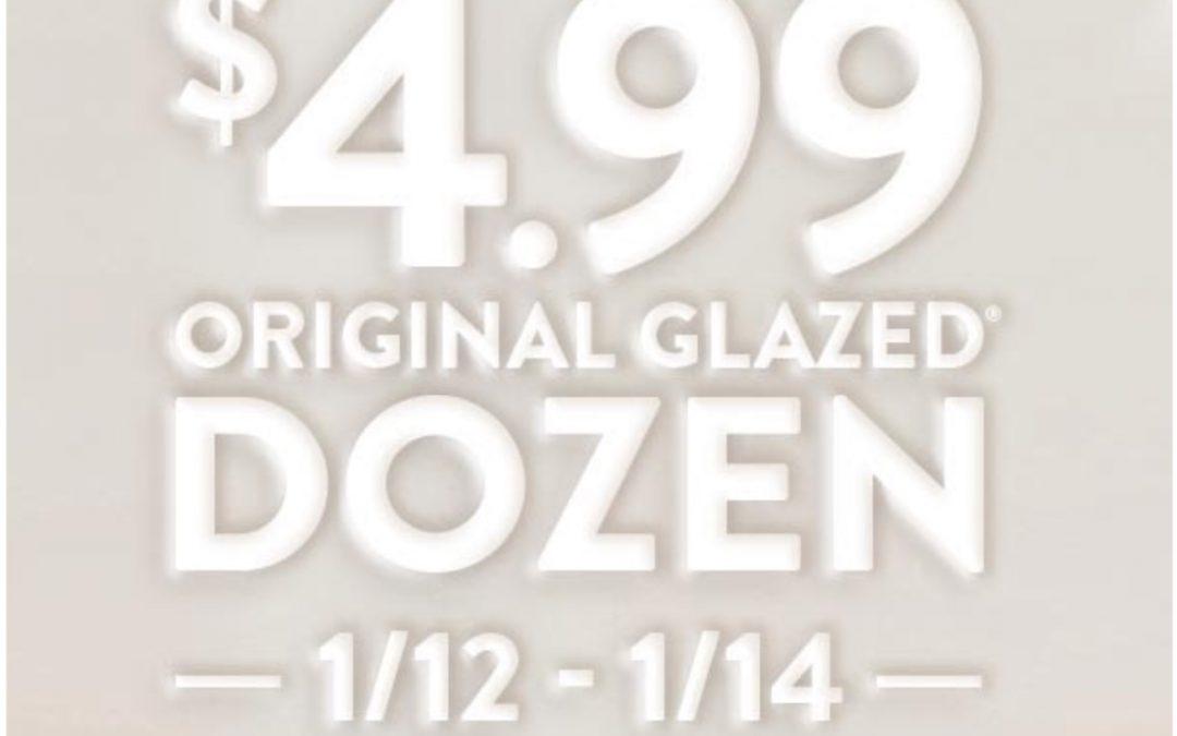 Krispy Kreme Glazed Dozen $4.99 deal (ends today 1/14)