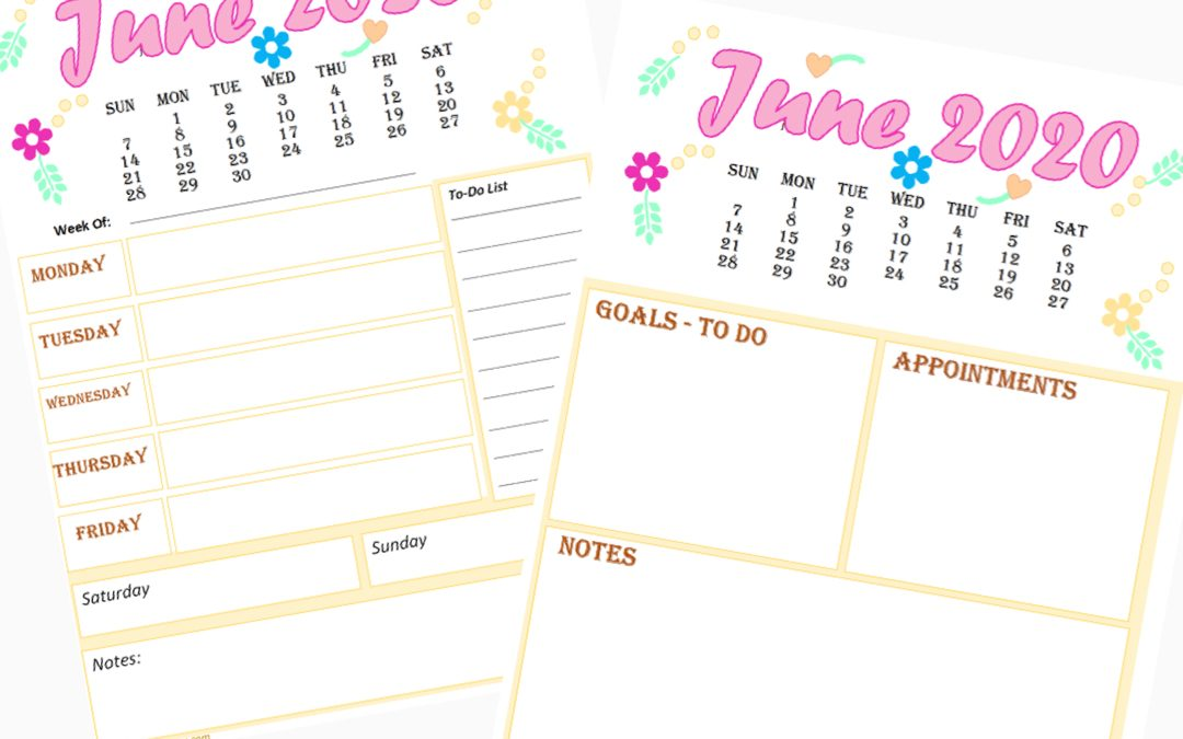 2 Free Calendar and Weekly Planner for June 2020 printable