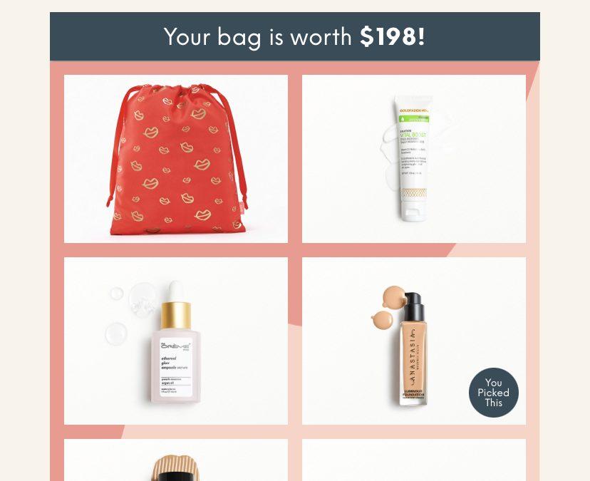 Ipsy Glam Bag Plus February 2021 my bag worth $198 (2 foundations?!)