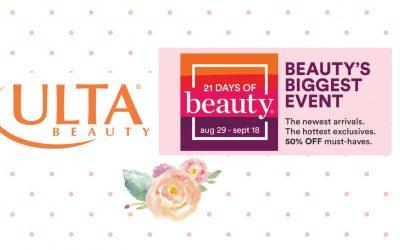 Ulta 21 Days of Beauty Event (8/29/21 – 9/18/21) Starts Today